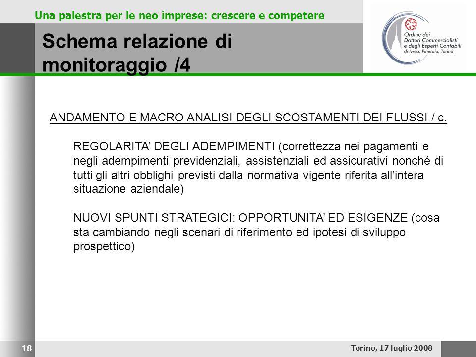 Una palestra per le neo imprese: crescere e competere Schema relazione di monitoraggio /4 Torino, 17 luglio 2008 18 ANDAMENTO E MACRO ANALISI DEGLI SC