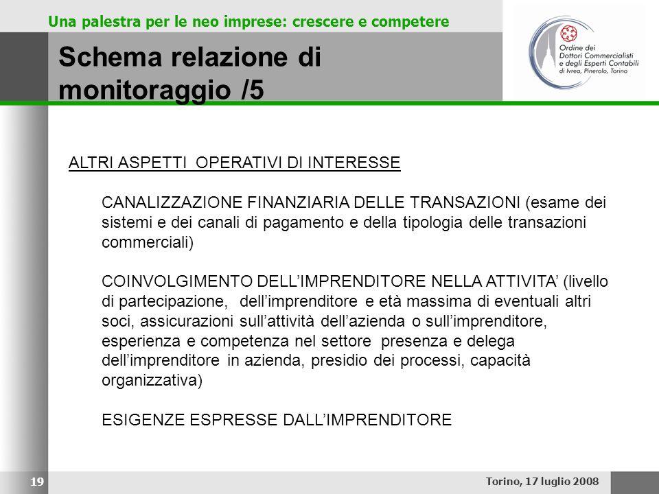 Una palestra per le neo imprese: crescere e competere Schema relazione di monitoraggio /5 Torino, 17 luglio 2008 19 ALTRI ASPETTI OPERATIVI DI INTERES