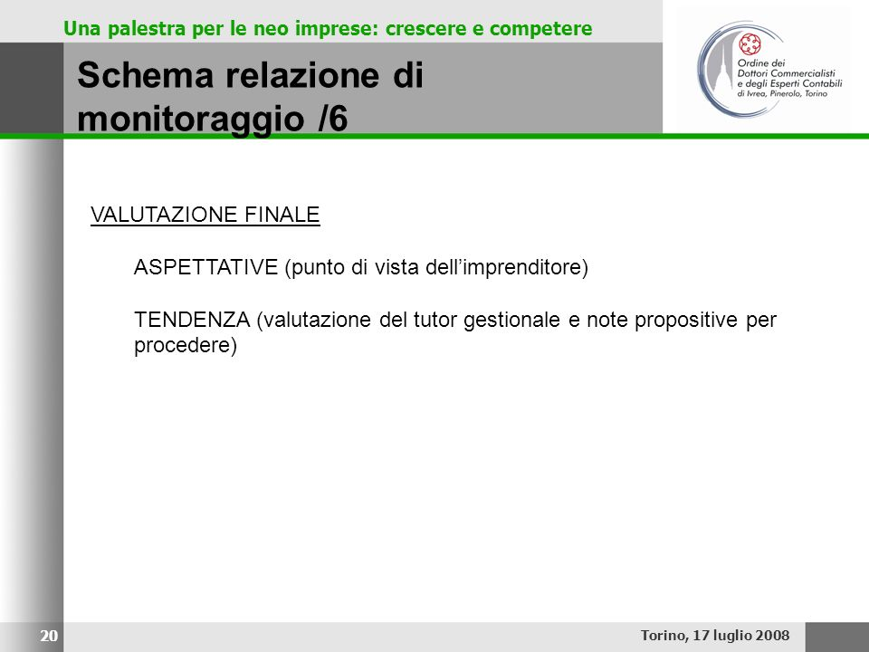 Una palestra per le neo imprese: crescere e competere Schema relazione di monitoraggio /6 Torino, 17 luglio 2008 20 VALUTAZIONE FINALE ASPETTATIVE (pu