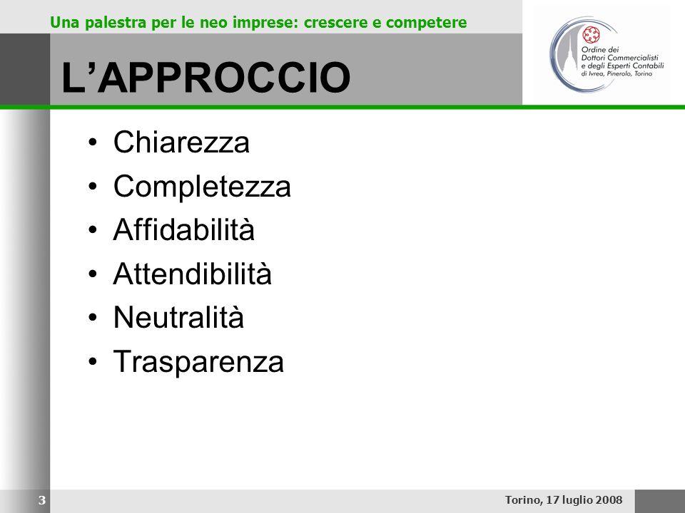 Una palestra per le neo imprese: crescere e competere LAPPROCCIO Chiarezza Completezza Affidabilità Attendibilità Neutralità Trasparenza Torino, 17 lu
