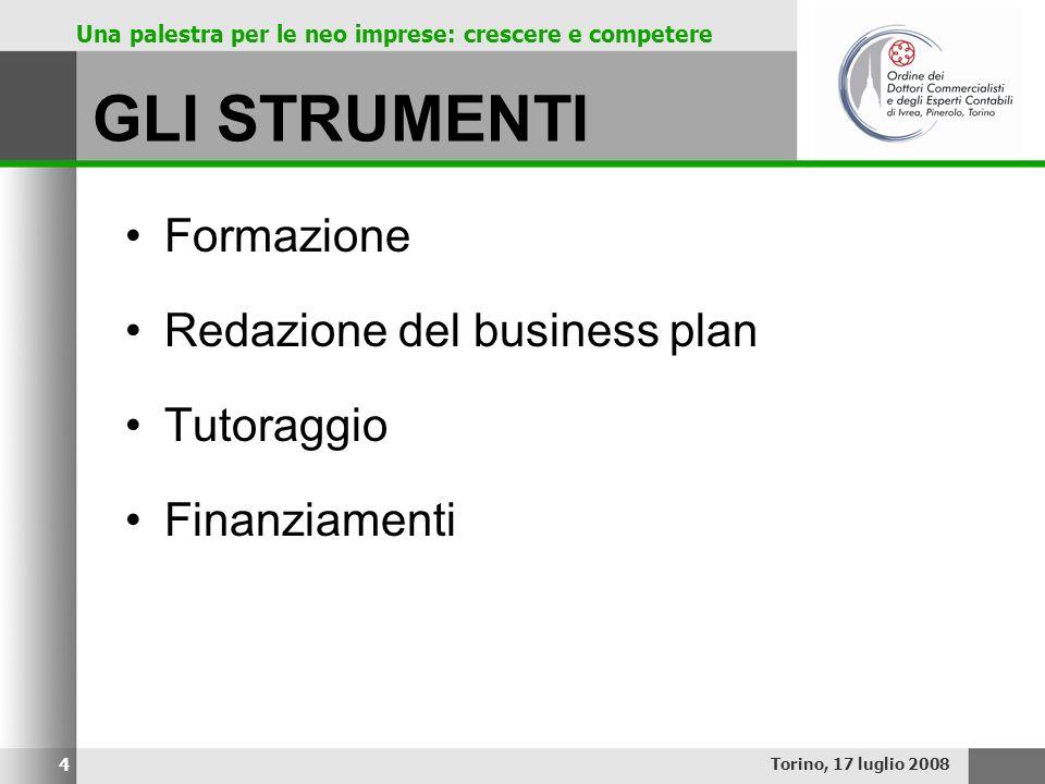 Una palestra per le neo imprese: crescere e competere GLI STRUMENTI Formazione Redazione del business plan Tutoraggio Finanziamenti Torino, 17 luglio