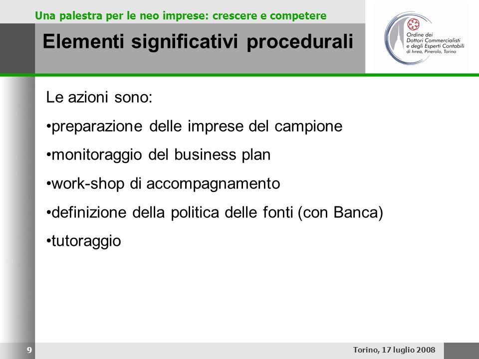 Una palestra per le neo imprese: crescere e competere Elementi significativi procedurali Torino, 17 luglio 2008 9 Le azioni sono: preparazione delle i