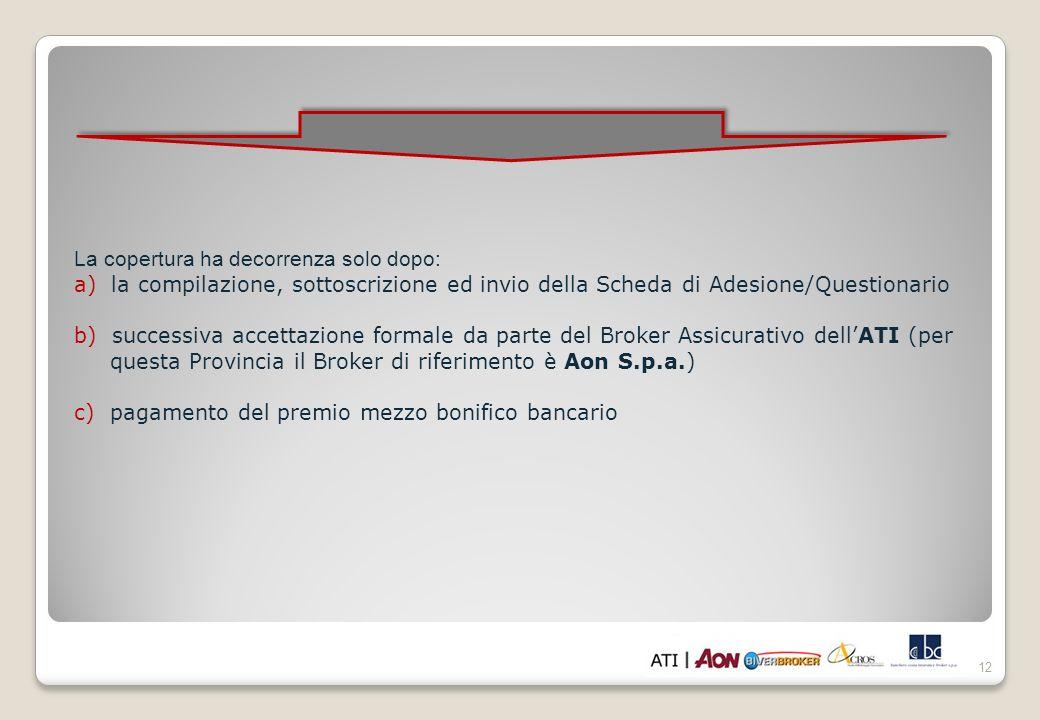 12 La copertura ha decorrenza solo dopo: a) la compilazione, sottoscrizione ed invio della Scheda di Adesione/Questionario b) successiva accettazione