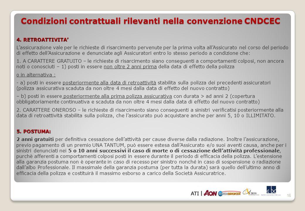 16 Condizioni contrattuali rilevanti nella convenzione CNDCEC 4.