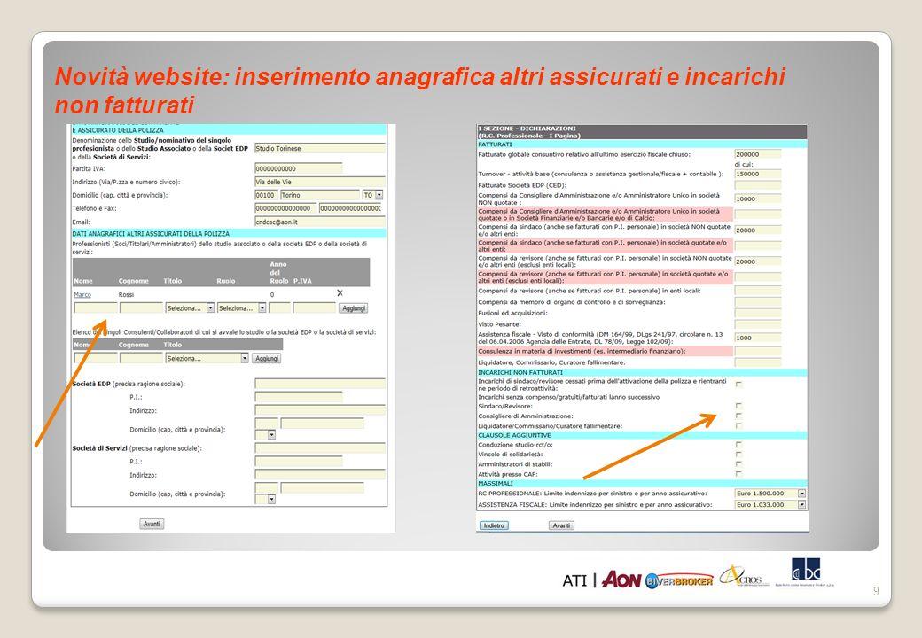 9 Novità website: inserimento anagrafica altri assicurati e incarichi non fatturati