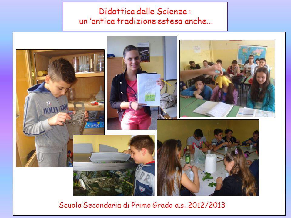 Didattica delle Scienze : un antica tradizione estesa anche... Scuola Secondaria di Primo Grado a.s. 2012/2013