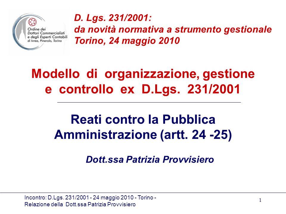 Incontro: D.Lgs. 231/2001 - 24 maggio 2010 - Torino - Relazione della Dott.ssa Patrizia Provvisiero 1 Modello di organizzazione, gestione e controllo