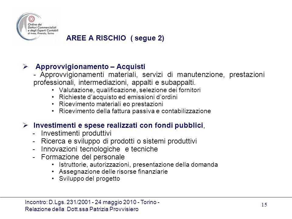 Incontro: D.Lgs. 231/2001 - 24 maggio 2010 - Torino - Relazione della Dott.ssa Patrizia Provvisiero 15 AREE A RISCHIO ( segue 2) Approvvigionamento –