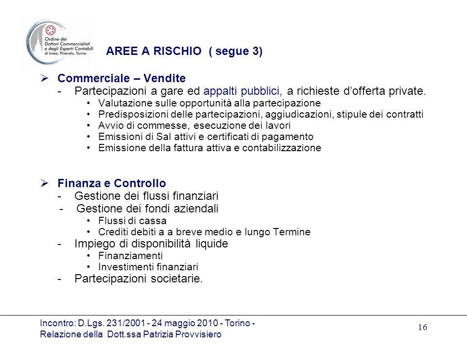 Incontro: D.Lgs. 231/2001 - 24 maggio 2010 - Torino - Relazione della Dott.ssa Patrizia Provvisiero 16 AREE A RISCHIO ( segue 3) Commerciale – Vendite