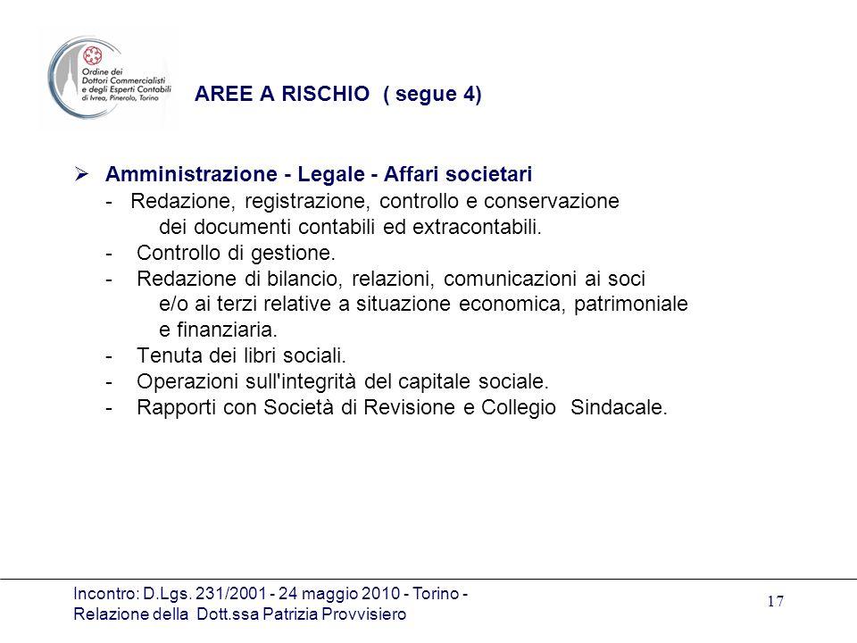 Incontro: D.Lgs. 231/2001 - 24 maggio 2010 - Torino - Relazione della Dott.ssa Patrizia Provvisiero 17 AREE A RISCHIO ( segue 4) Amministrazione - Leg
