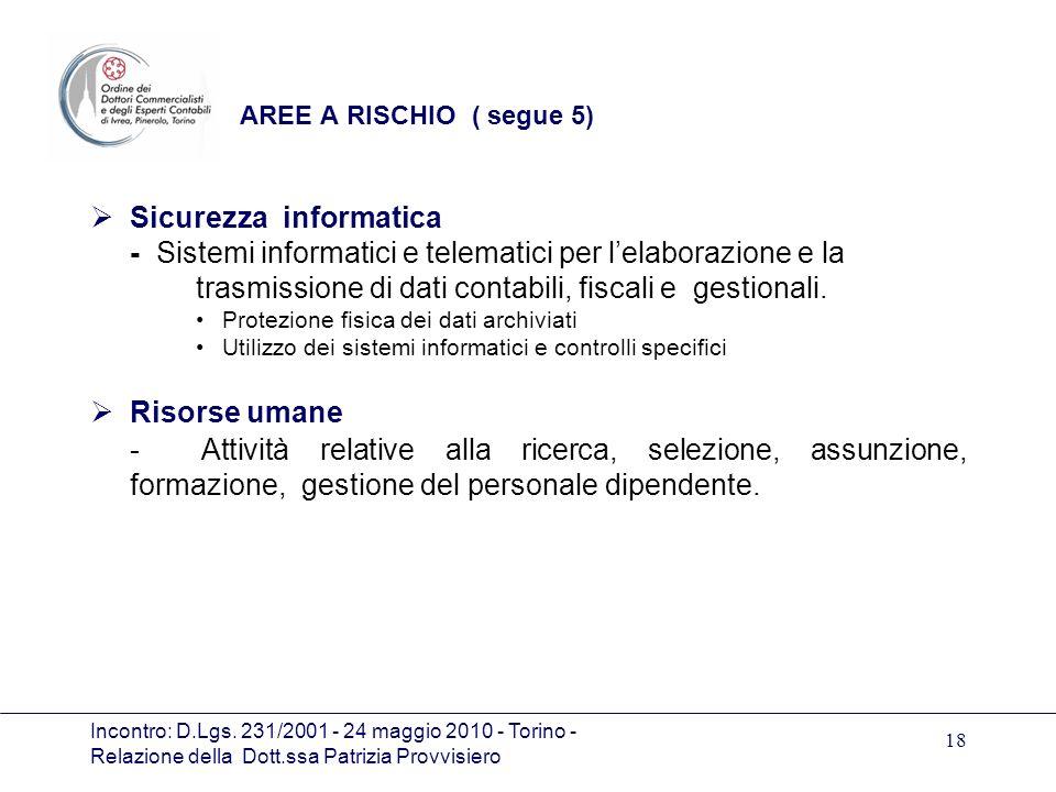 Incontro: D.Lgs. 231/2001 - 24 maggio 2010 - Torino - Relazione della Dott.ssa Patrizia Provvisiero 18 AREE A RISCHIO ( segue 5) Sicurezza informatica