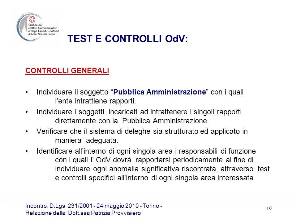 Incontro: D.Lgs. 231/2001 - 24 maggio 2010 - Torino - Relazione della Dott.ssa Patrizia Provvisiero 19 TEST E CONTROLLI OdV: CONTROLLI GENERALI Indivi