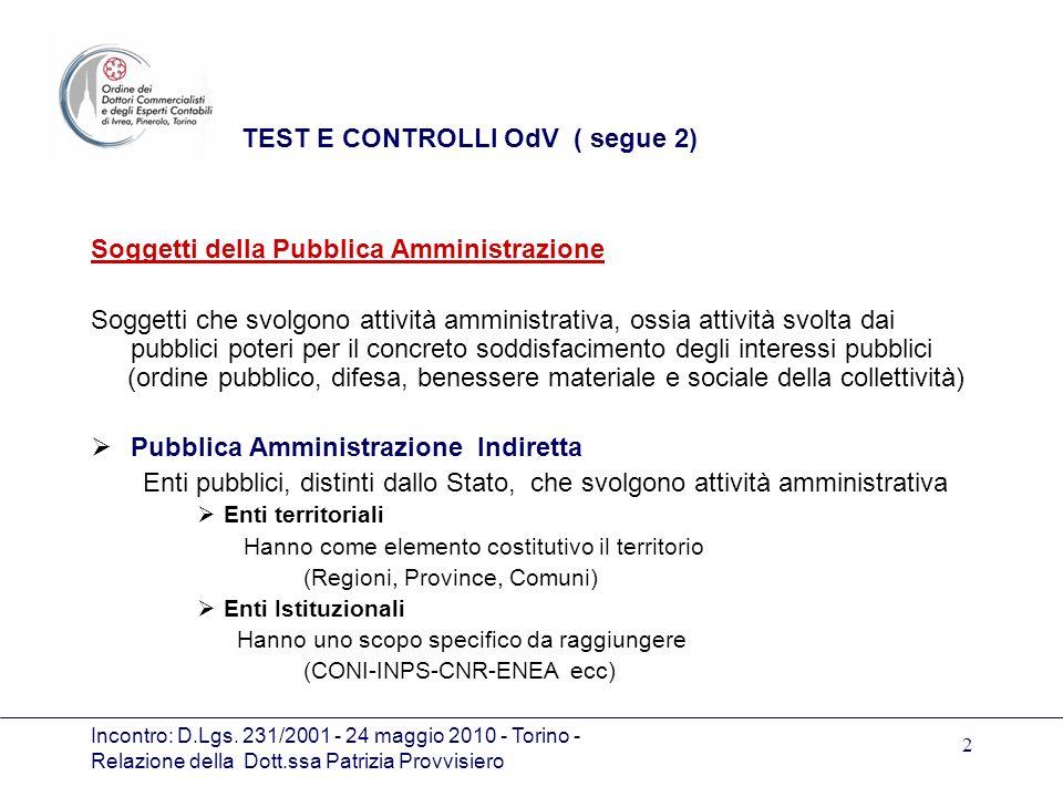 Incontro: D.Lgs. 231/2001 - 24 maggio 2010 - Torino - Relazione della Dott.ssa Patrizia Provvisiero 2 TEST E CONTROLLI OdV ( segue 2) Soggetti della P