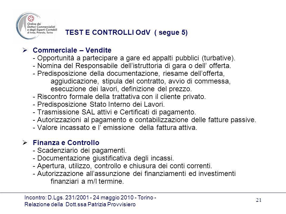 Incontro: D.Lgs. 231/2001 - 24 maggio 2010 - Torino - Relazione della Dott.ssa Patrizia Provvisiero 21 TEST E CONTROLLI OdV ( segue 5) Commerciale – V