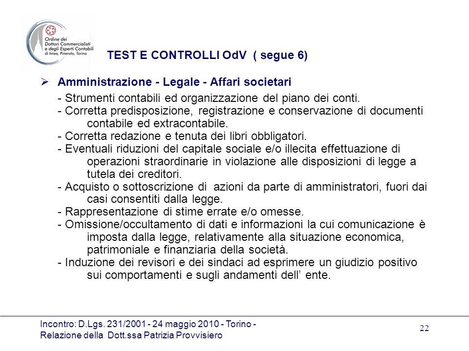 Incontro: D.Lgs. 231/2001 - 24 maggio 2010 - Torino - Relazione della Dott.ssa Patrizia Provvisiero 22 TEST E CONTROLLI OdV ( segue 6) Amministrazione