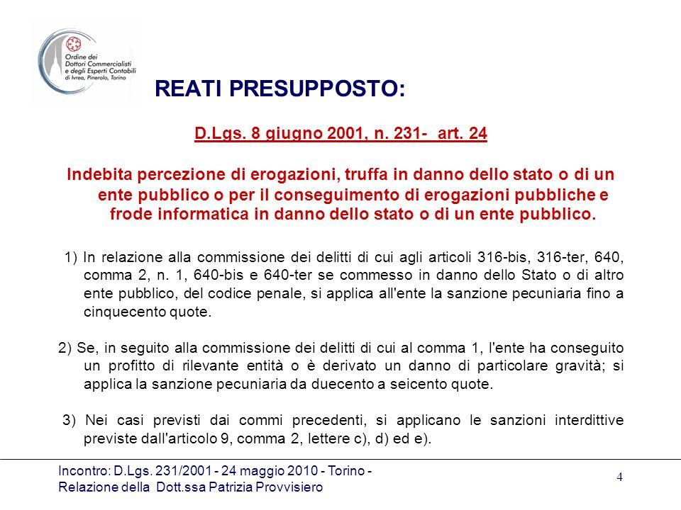 Incontro: D.Lgs. 231/2001 - 24 maggio 2010 - Torino - Relazione della Dott.ssa Patrizia Provvisiero 4 REATI PRESUPPOSTO: D.Lgs. 8 giugno 2001, n. 231-