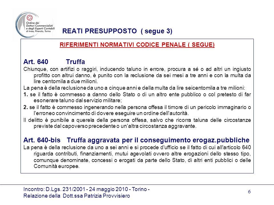 Incontro: D.Lgs. 231/2001 - 24 maggio 2010 - Torino - Relazione della Dott.ssa Patrizia Provvisiero 6 REATI PRESUPPOSTO ( segue 3) RIFERIMENTI NORMATI