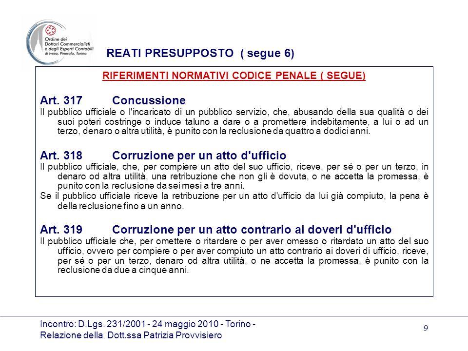 Incontro: D.Lgs. 231/2001 - 24 maggio 2010 - Torino - Relazione della Dott.ssa Patrizia Provvisiero 9 REATI PRESUPPOSTO ( segue 6) Art. 317 Concussion