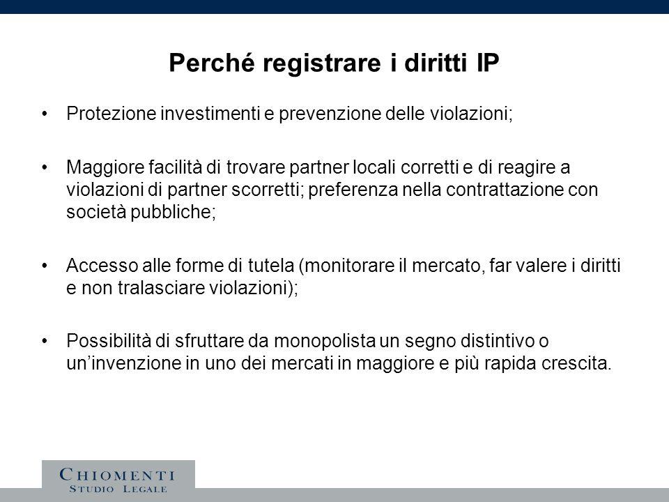 Perché registrare i diritti IP Protezione investimenti e prevenzione delle violazioni; Maggiore facilità di trovare partner locali corretti e di reagi