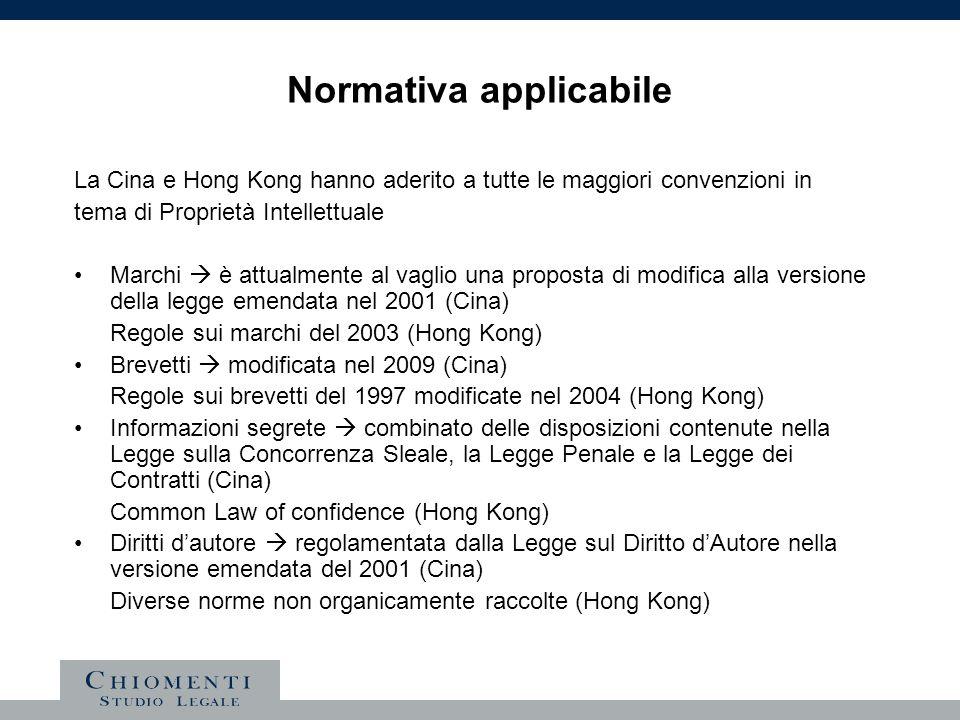 Normativa applicabile La Cina e Hong Kong hanno aderito a tutte le maggiori convenzioni in tema di Proprietà Intellettuale Marchi è attualmente al vag