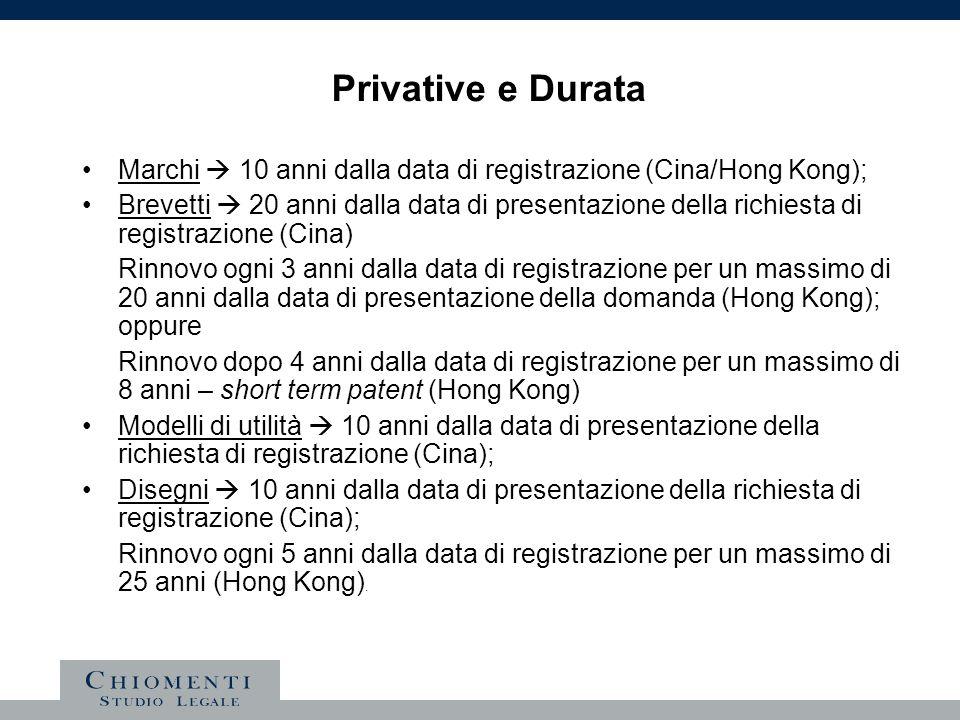 Privative e Durata Marchi 10 anni dalla data di registrazione (Cina/Hong Kong); Brevetti 20 anni dalla data di presentazione della richiesta di regist
