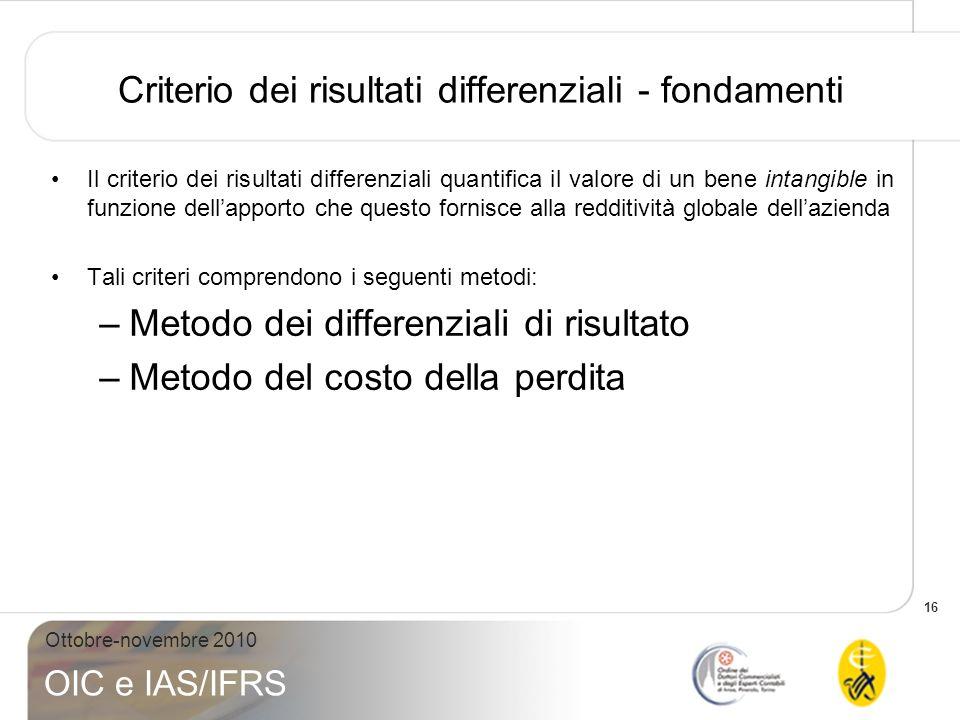 16 Ottobre-novembre 2010 OIC e IAS/IFRS Criterio dei risultati differenziali - fondamenti Il criterio dei risultati differenziali quantifica il valore