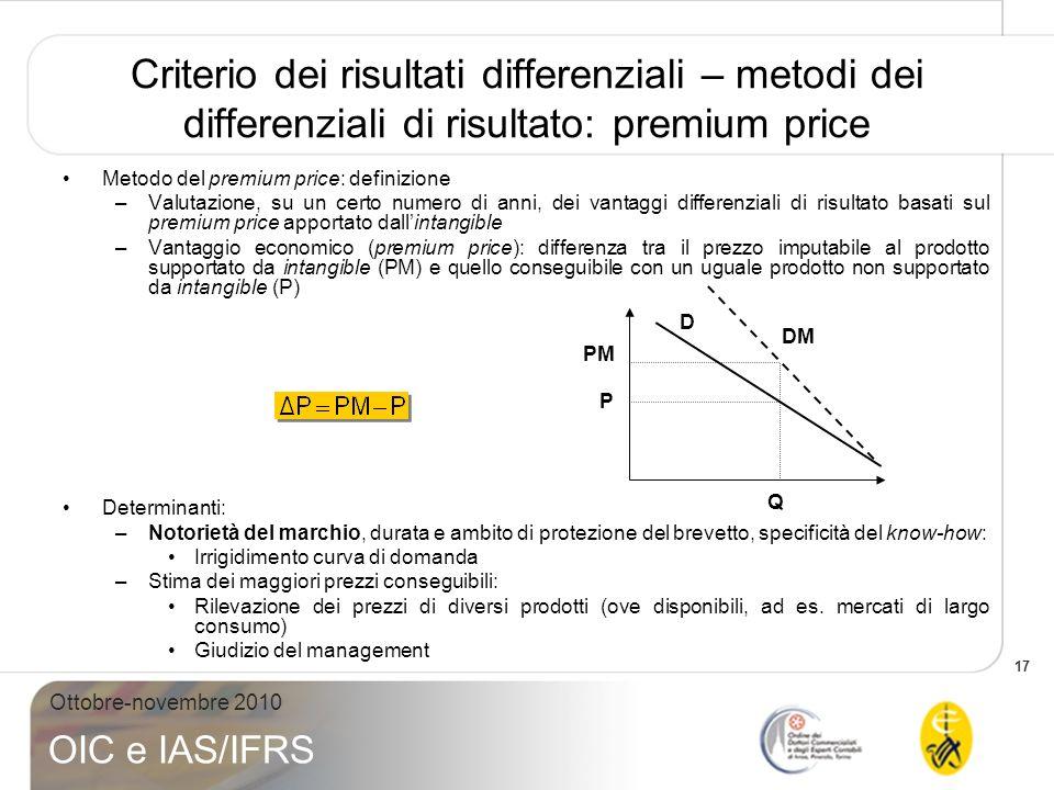 17 Ottobre-novembre 2010 OIC e IAS/IFRS Criterio dei risultati differenziali – metodi dei differenziali di risultato: premium price Metodo del premium