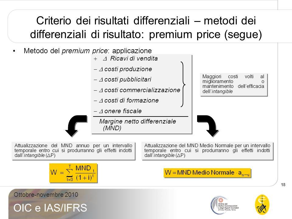 18 Ottobre-novembre 2010 OIC e IAS/IFRS Criterio dei risultati differenziali – metodi dei differenziali di risultato: premium price (segue) Attualizza
