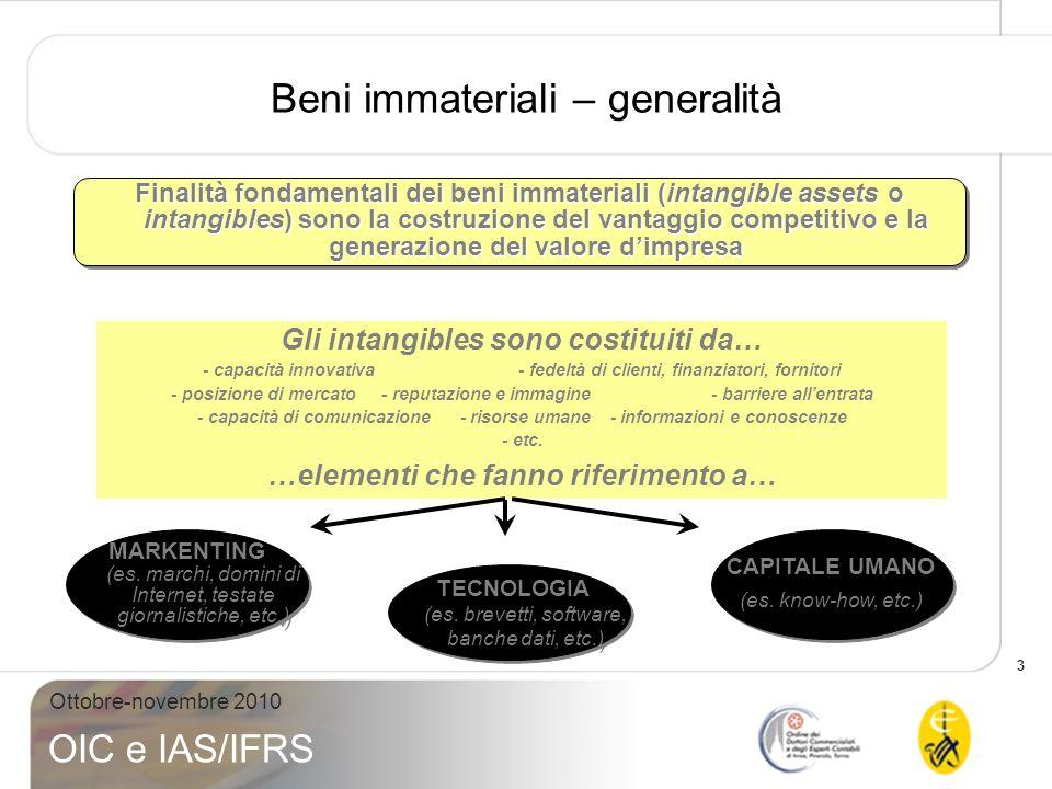 3 Ottobre-novembre 2010 OIC e IAS/IFRS Beni immateriali – generalità Finalità fondamentali dei beni immateriali (intangible assets o intangibles) sono