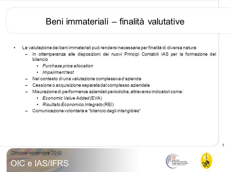 5 Ottobre-novembre 2010 OIC e IAS/IFRS Beni immateriali – finalità valutative La valutazione dei beni immateriali può rendersi necessaria per finalità