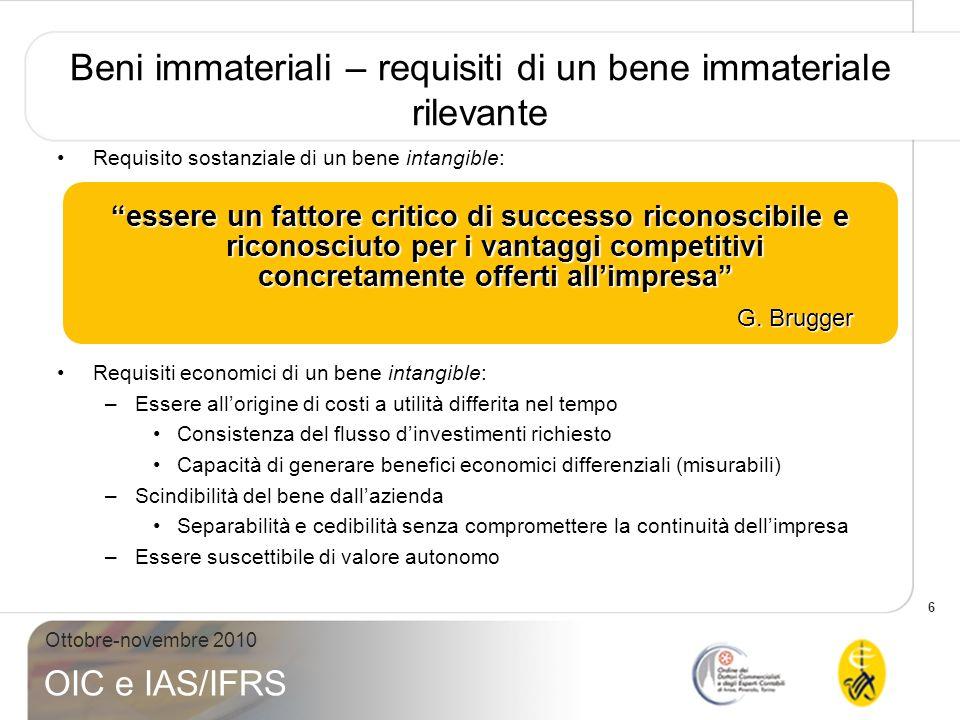 6 Ottobre-novembre 2010 OIC e IAS/IFRS Beni immateriali – requisiti di un bene immateriale rilevante Requisito sostanziale di un bene intangible: Requ