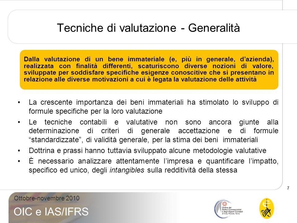 7 Ottobre-novembre 2010 OIC e IAS/IFRS Tecniche di valutazione - Generalità Dalla valutazione di un bene immateriale (e, più in generale, dazienda), r