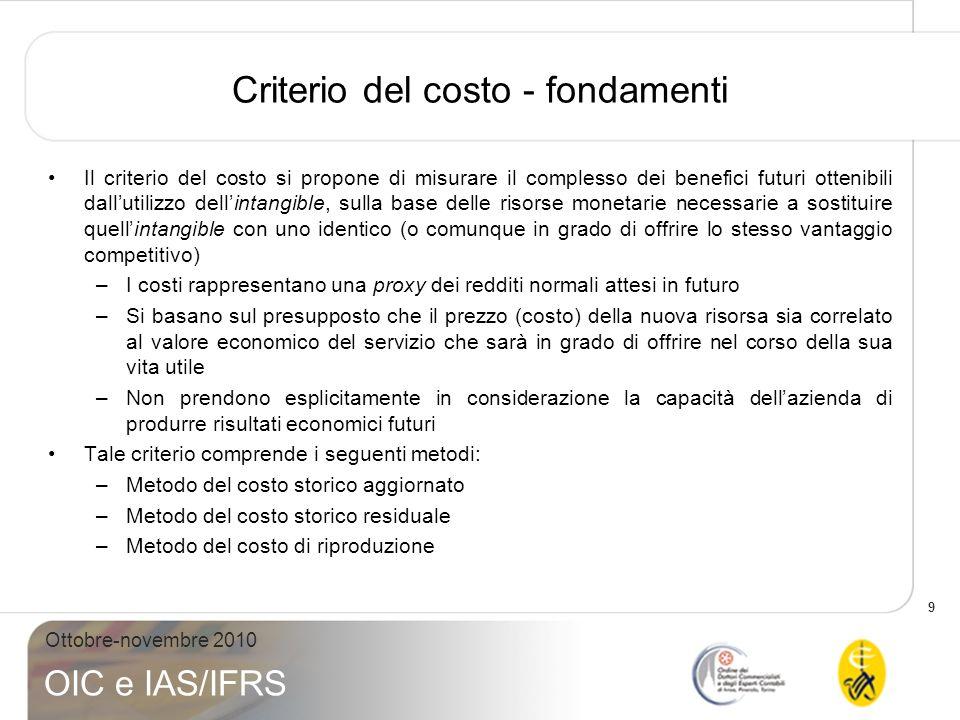 9 Ottobre-novembre 2010 OIC e IAS/IFRS Criterio del costo - fondamenti Il criterio del costo si propone di misurare il complesso dei benefici futuri o