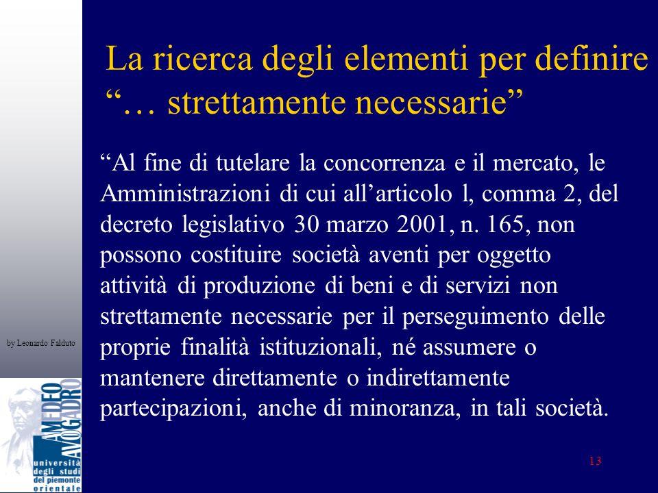 by Leonardo Falduto 13 La ricerca degli elementi per definire … strettamente necessarie Al fine di tutelare la concorrenza e il mercato, le Amministrazioni di cui allarticolo l, comma 2, del decreto legislativo 30 marzo 2001, n.