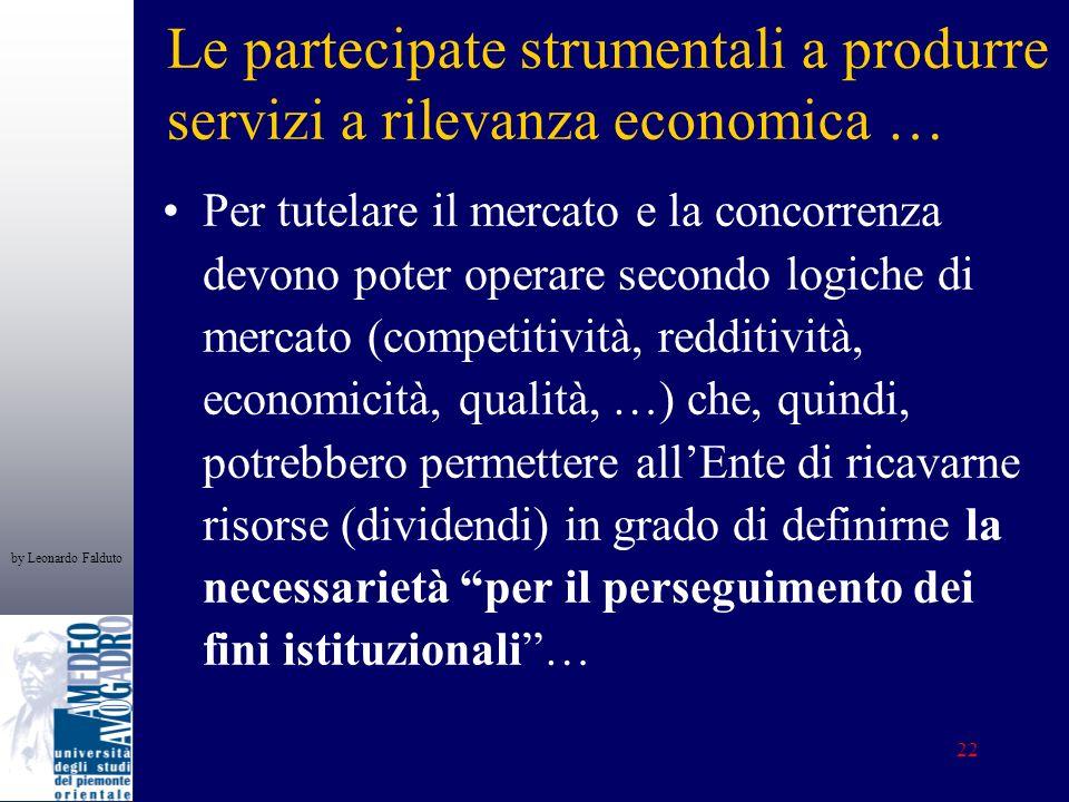 by Leonardo Falduto 22 Le partecipate strumentali a produrre servizi a rilevanza economica … Per tutelare il mercato e la concorrenza devono poter ope