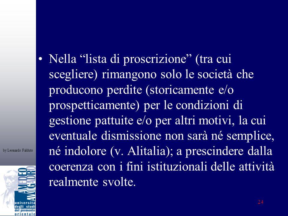 by Leonardo Falduto 24 Nella lista di proscrizione (tra cui scegliere) rimangono solo le società che producono perdite (storicamente e/o prospetticame