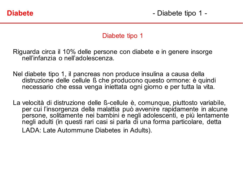 Diabete- Diabete tipo 1 - Diabete tipo 1 Riguarda circa il 10% delle persone con diabete e in genere insorge nellinfanzia o nelladolescenza. Nel diabe