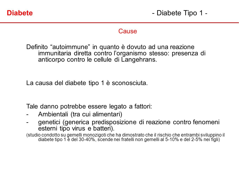 Diabete - Diabete Tipo 1 - Cause Definito autoimmune in quanto è dovuto ad una reazione immunitaria diretta contro lorganismo stesso: presenza di anti