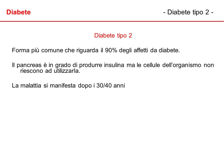 Diabete- Diabete tipo 2 - Diabete tipo 2 Forma più comune che riguarda il 90% degli affetti da diabete. Il pancreas è in grado di produrre insulina ma