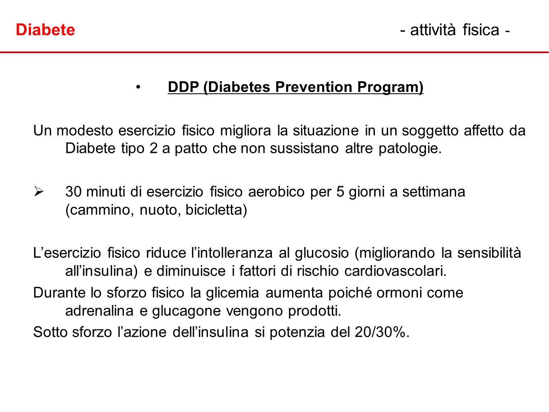 DDP (Diabetes Prevention Program) Un modesto esercizio fisico migliora la situazione in un soggetto affetto da Diabete tipo 2 a patto che non sussista