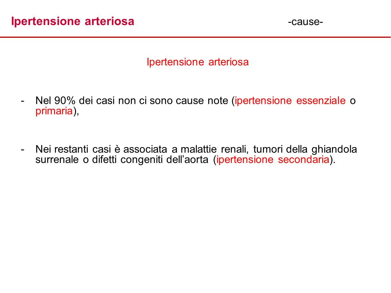 Ipertensione arteriosa -cause- Ipertensione arteriosa - -Nel 90% dei casi non ci sono cause note (ipertensione essenziale o primaria), - -Nei restanti