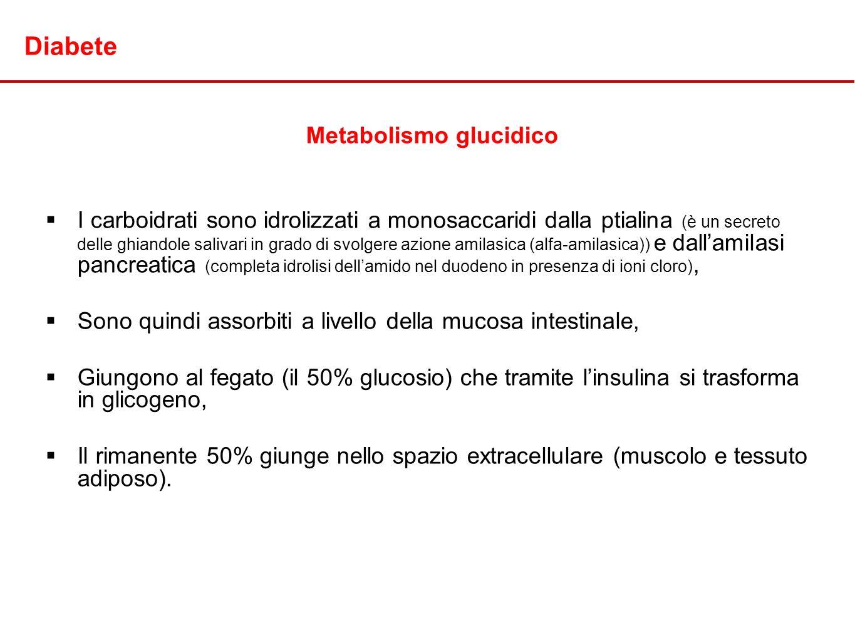 Diabete Metabolismo glucidico I carboidrati sono idrolizzati a monosaccaridi dalla ptialina (è un secreto delle ghiandole salivari in grado di svolger