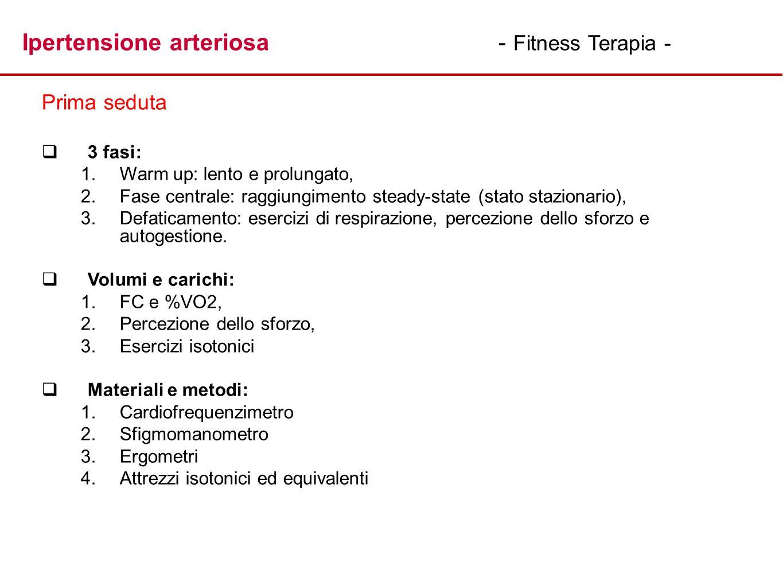 Ipertensione arteriosa - Fitness Terapia - Prima seduta 3 fasi: 1. 1.Warm up: lento e prolungato, 2. 2.Fase centrale: raggiungimento steady-state (sta
