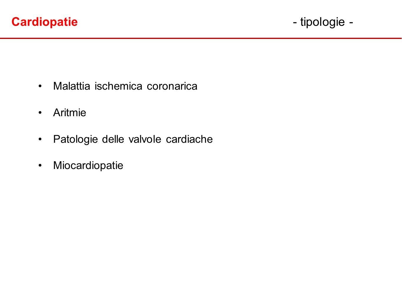 Cardiopatie- tipologie - Malattia ischemica coronarica Aritmie Patologie delle valvole cardiache Miocardiopatie