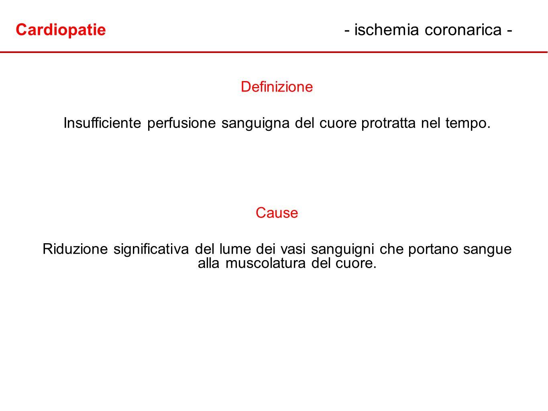 Cardiopatie- ischemia coronarica - Definizione Insufficiente perfusione sanguigna del cuore protratta nel tempo. Cause Riduzione significativa del lum