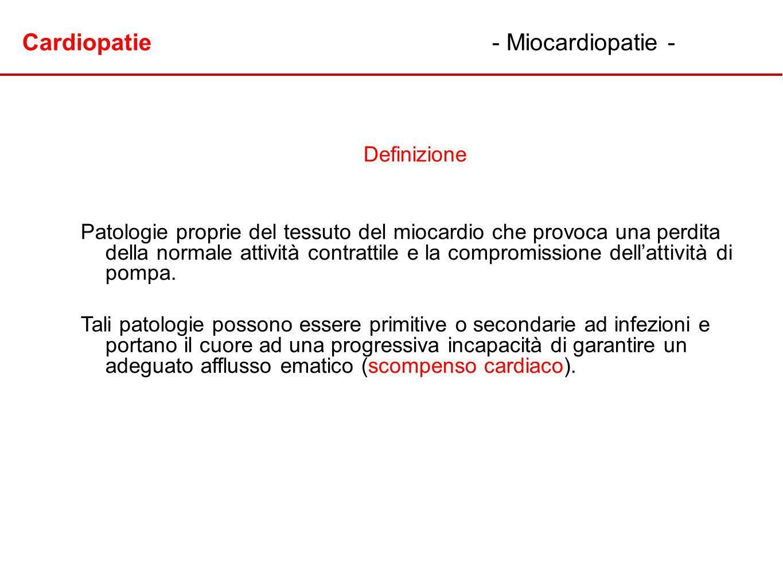 Cardiopatie- Miocardiopatie - Definizione Patologie proprie del tessuto del miocardio che provoca una perdita della normale attività contrattile e la
