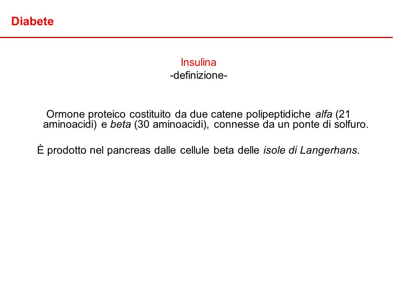 Diabete Insulina -definizione- Ormone proteico costituito da due catene polipeptidiche alfa (21 aminoacidi) e beta (30 aminoacidi), connesse da un pon