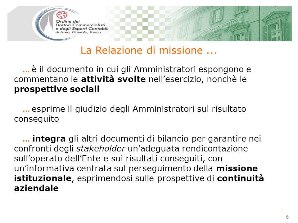 6 6 La Relazione di missione...... è il documento in cui gli Amministratori espongono e commentano le attività svolte nellesercizio, nonchè le prospet