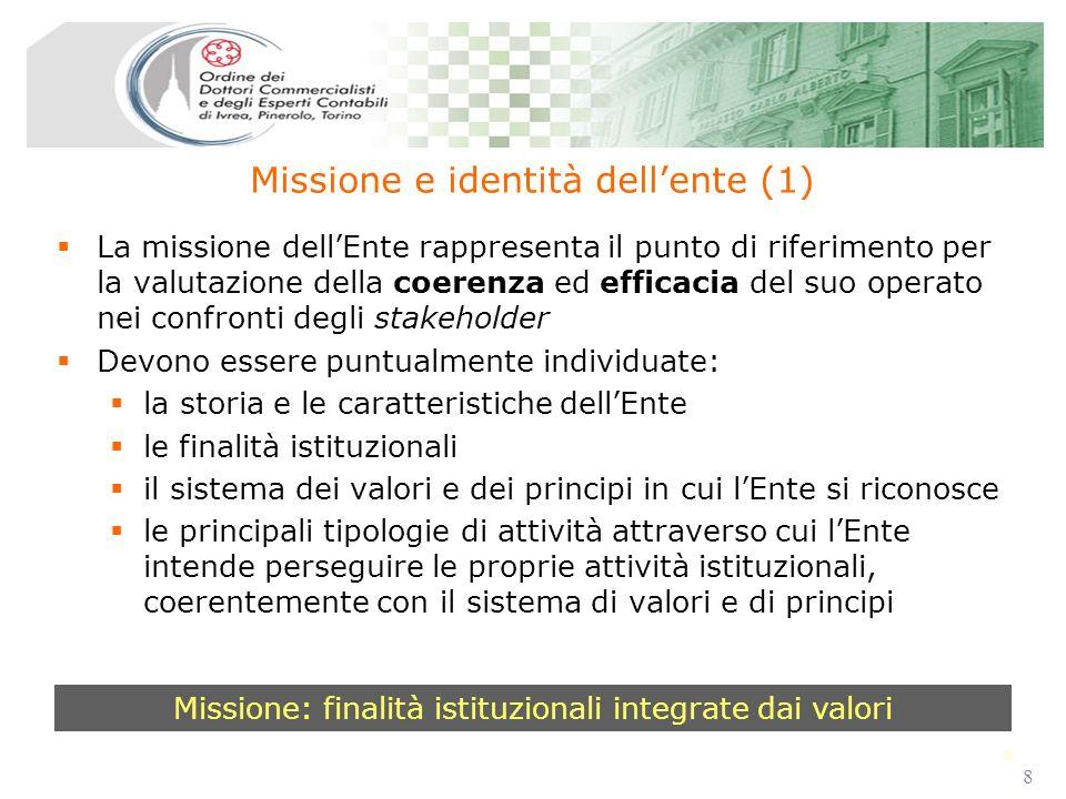 8 8 La missione dellEnte rappresenta il punto di riferimento per la valutazione della coerenza ed efficacia del suo operato nei confronti degli stakeh