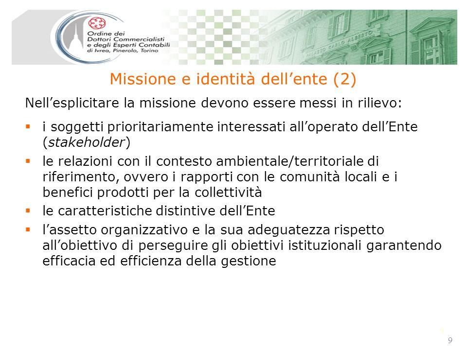 9 9 i soggetti prioritariamente interessati alloperato dellEnte (stakeholder) le relazioni con il contesto ambientale/territoriale di riferimento, ovv